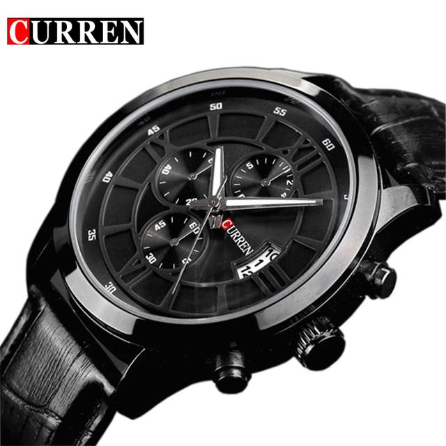 Мода Curren марка бизнес черный человек наручные часы дата кожа водонепроницаемый свободного покроя наручные часы мужской Relojes хомбре