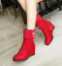 Winter Women Fashion Hidden Heels Ankle Snow Boot Suede Pull On Knight Shoes(China (Mainland))