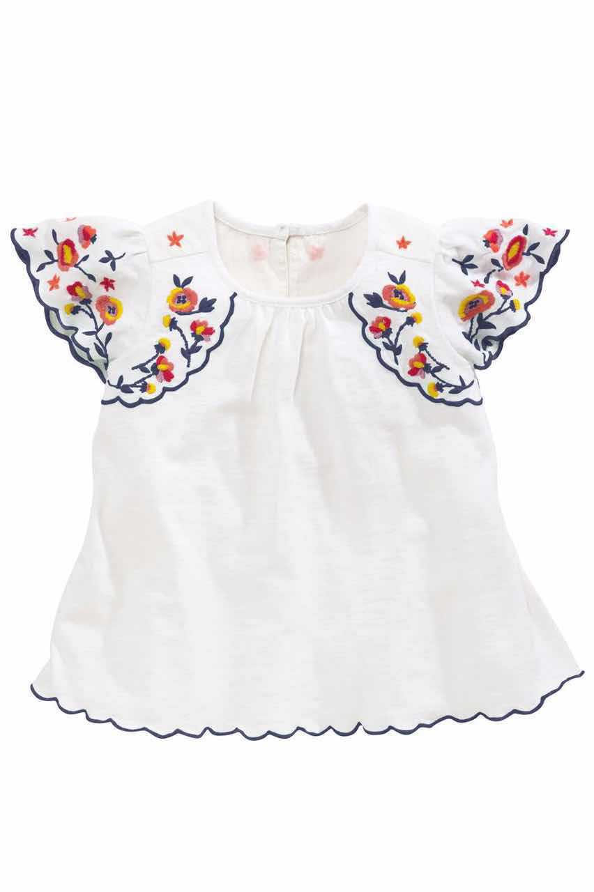 Retail Hot Sale 2016 Children Chinese Style Costume Embroidery Flower White Blouse Girl Short Sleeve New Kids Cotton Shirts Tops