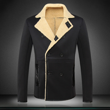 2015 New Winter Men's Woolen Jacket Solid Double Breasted Trench Coat Thicken Warm Velour Lamb Wool Windbreaker M- 4XL #819(China (Mainland))