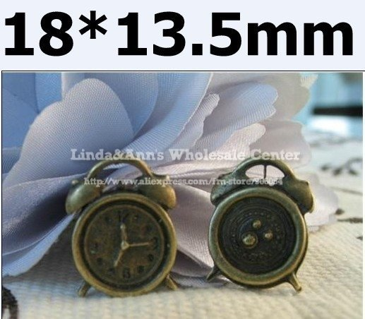Free Shipping,Antique Bronze Tone, Vintage Cartoon Clock  Pendant Charms Findings for DIY Jewelry, Wholesale,18*13.5mm,CF-15