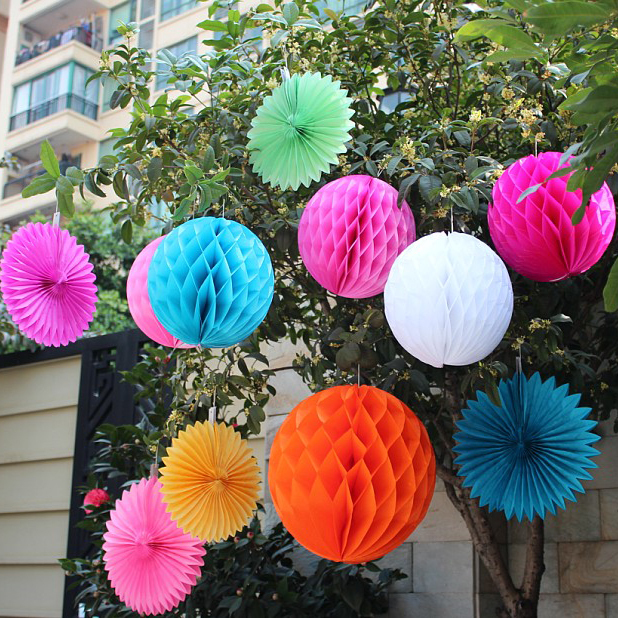 Wholesale Free shipping 30pcs 8 inches(20cm) Tissue Paper Flower ball/ Honeycomb Lantern Wedding Party festival deco HB-20-001(China (Mainland))