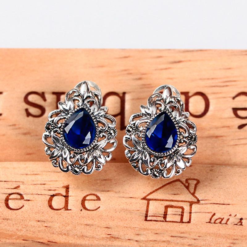 Retro 925 sterling silver handmade inlaid sapphire pink corundum earrings vintage elegant females fashion jewelry for women(China (Mainland))