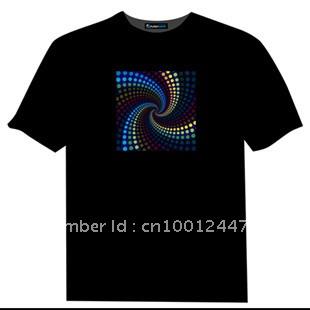 Free shipping retail led tshirt sound activated,el music flashing tshirt min 1piece(China (Mainland))