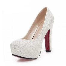 2016 New Brand High Heels Glitter Wedding Shoes Pumps Hot Sale Fashion Thick Heel Platform Shoes Woman Big Size 32-43(China (Mainland))