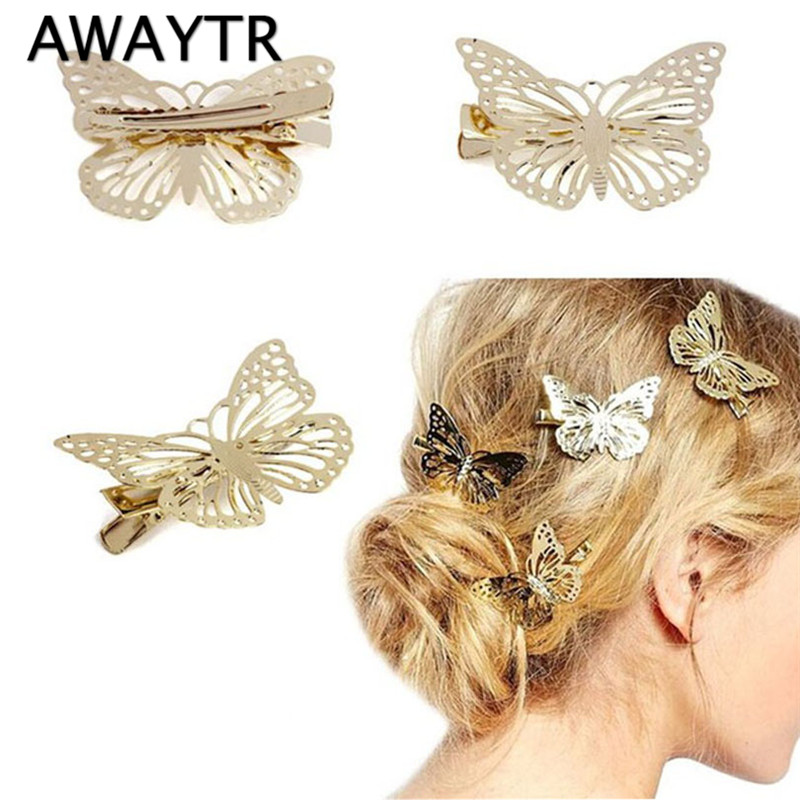 Hair Pins Women 2 Pieces/Lot Lovely Butterfly Head Jewelry Girls Fashion Clip Hair Barrettes Accessories Headdress