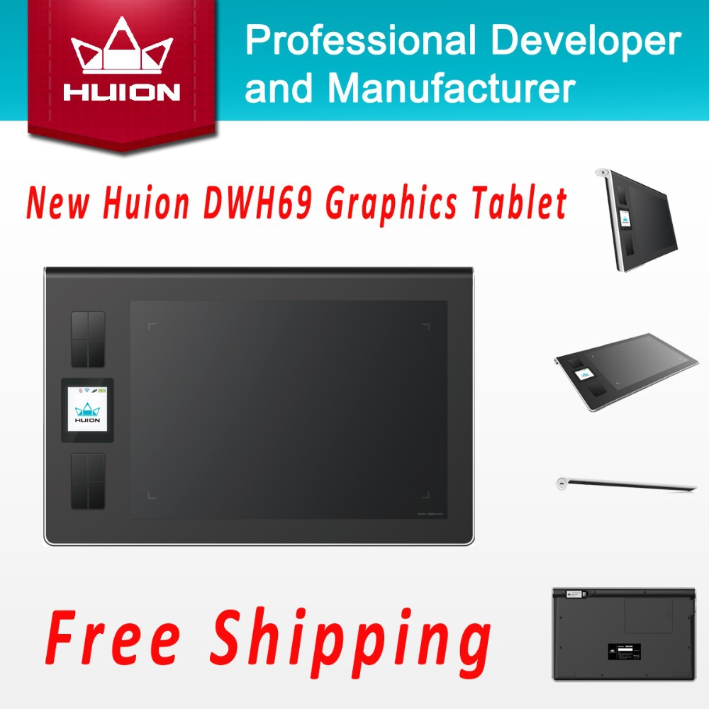 Huion Genuine Wireless Lcd Screen Graphics Drawing Tablets Art Signature Tablet Kids Pen Board Pad Grafica Tableta Black DWH69(China (Mainland))