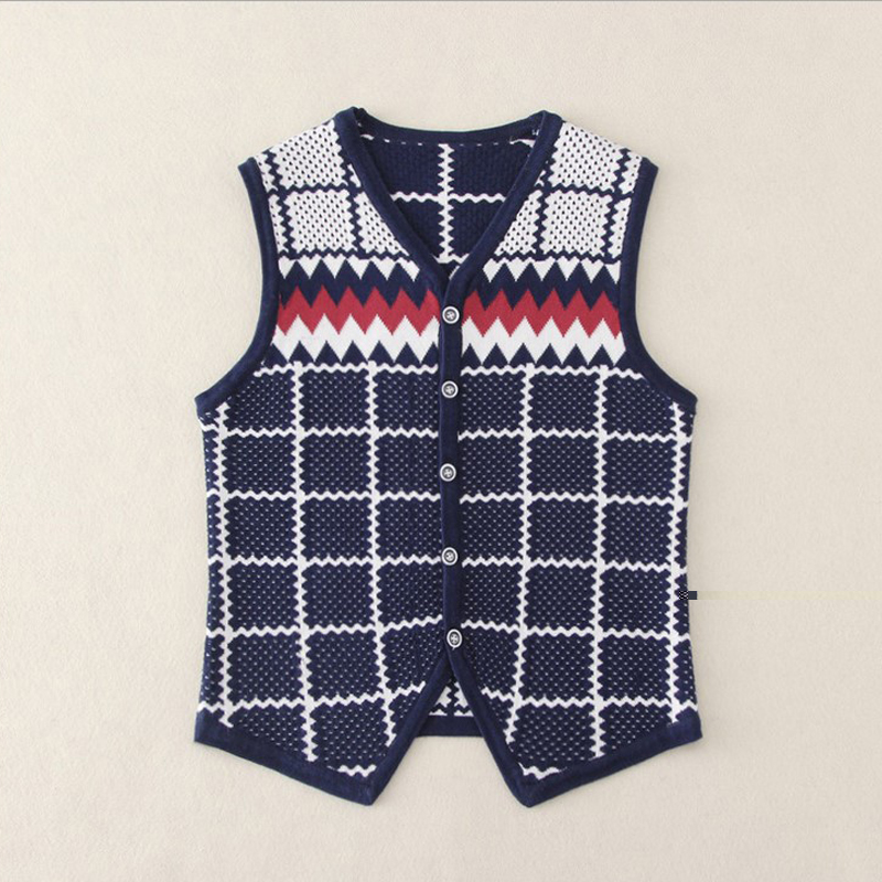 2016 kids' Pullover Sweater Vest O-Neck New Sweater 100% Cotton Knitted Kids Plus Size Slim Class Vest Free Shipping(China (Mainland))