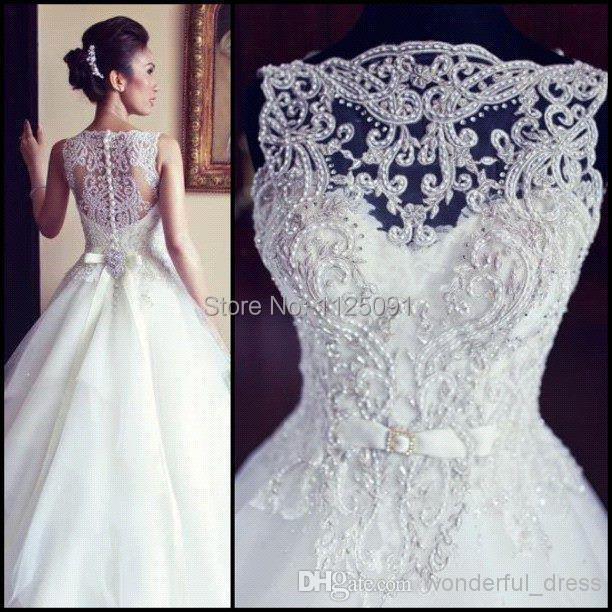 line tulle wedding dresses appliques beaded court train bridal gowns