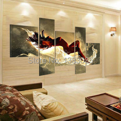 Nude Woman Painting Hand Painted Modern Abstract 5 Panel Wall Art Sexy Naked Statue Oil Canvas Picture Living Room Decoration(China (Mainland))