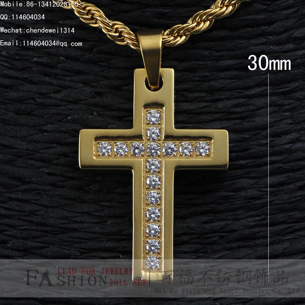 14K YELLOW GOLD BRILLIANT CUT LAB SMALL CNC CROSS CZ PENDANT(China (Mainland))