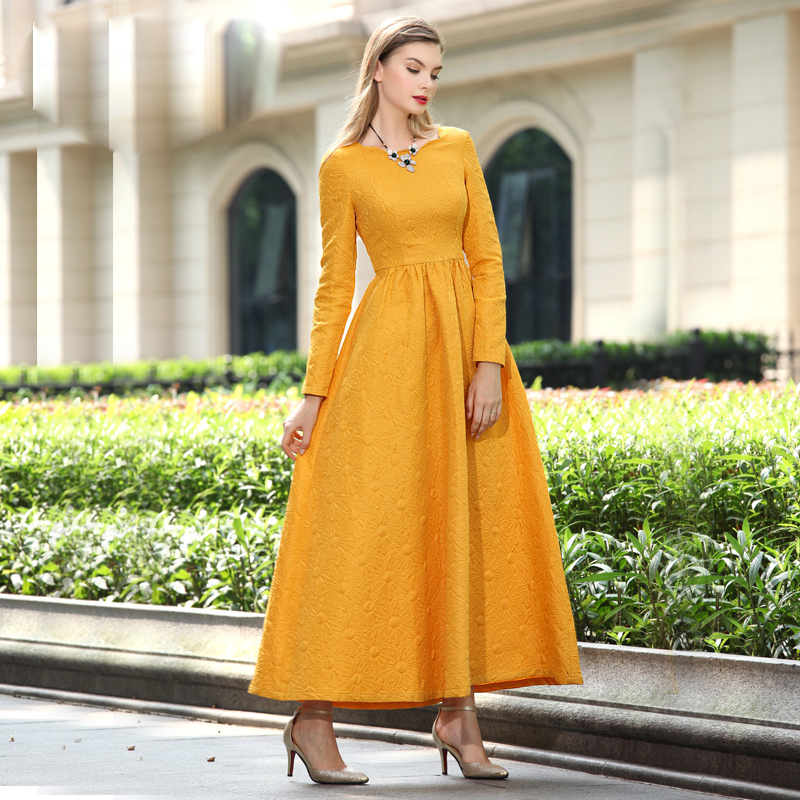 Fashion 2015 Autumn Winter Long Dress Womens Long Sleeve Jacquard Yellow Maxi Dress Plus size S-3XLОдежда и ак�е��уары<br><br><br>Aliexpress