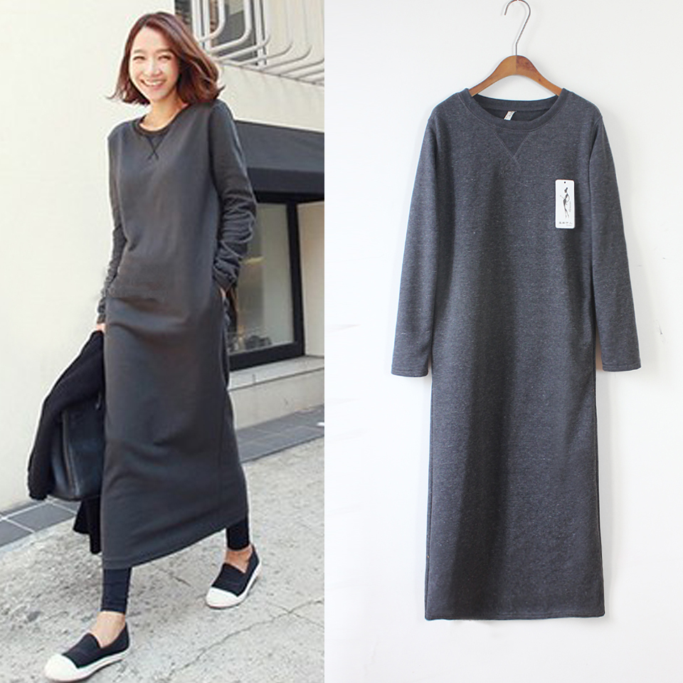 Sweatshirt 2014 Female Long Womenu0026#39;s Hooded Sweatshirt Dress Hoodie Women Casual Bottoming Slim ...