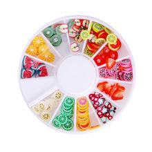 200 pcs argila do polímero 3d minúsculo Fimo fatias de frutas roda Nail Art Diy Designs roda decorações Nail Art pedrinhas atacado