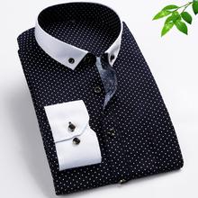 Mens Dress Shirts Long Sleeve Brand Famous non iron men clothes 2015 new men shirt 5xl polka dot shirt camisas slim fit