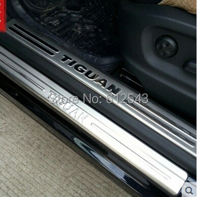 stainless steel interior exterior scuff plate door sill covers for volkswagen vw tiguan 2009. Black Bedroom Furniture Sets. Home Design Ideas