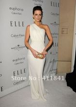 Kate Beckinsale White One Shoulder Evening Prom Gown Celebrity Dresses Cheap Elle 2008(China (Mainland))