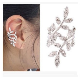 Hot Fashion 2015 New Retro 1 pc Crystal Leaf Flower Ear Cuff Earring Wrap Silver Clip Earrings for Women(China (Mainland))