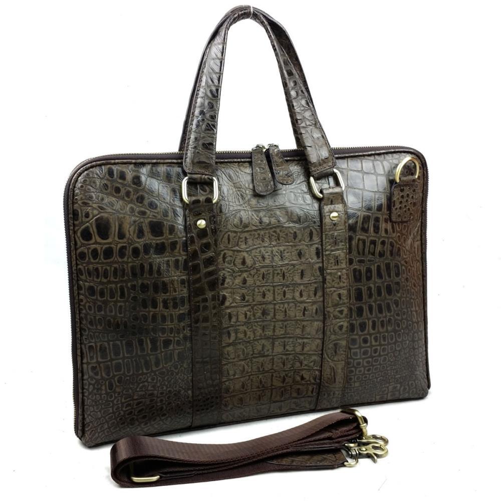 First layer of cowhide genuine leather men bag business handbag briefcase crocodile shoulder bag messenger bag laptop(China (Mainland))