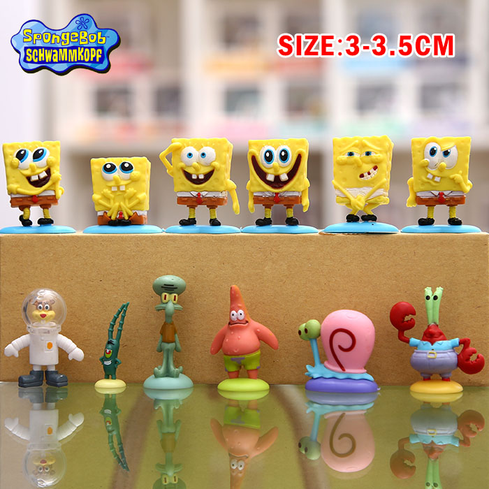 12Pcs/Set Spongebob Patrick Star Gary Squidward Mini Action Bob Figures Toys For Boys Movie Doll Furnish Collection With Base #D(China (Mainland))