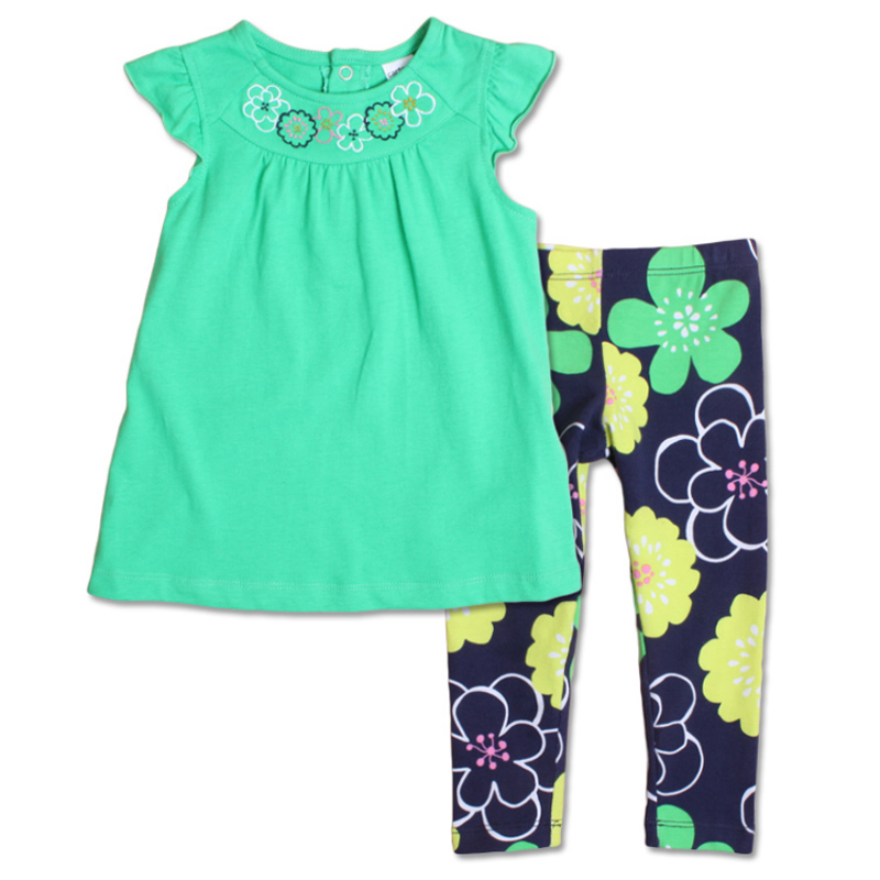 Brand summer girls sets 100% cotton toddler girl clothing fashion baby suit 2pcs short top + flower pants children clothese(China (Mainland))