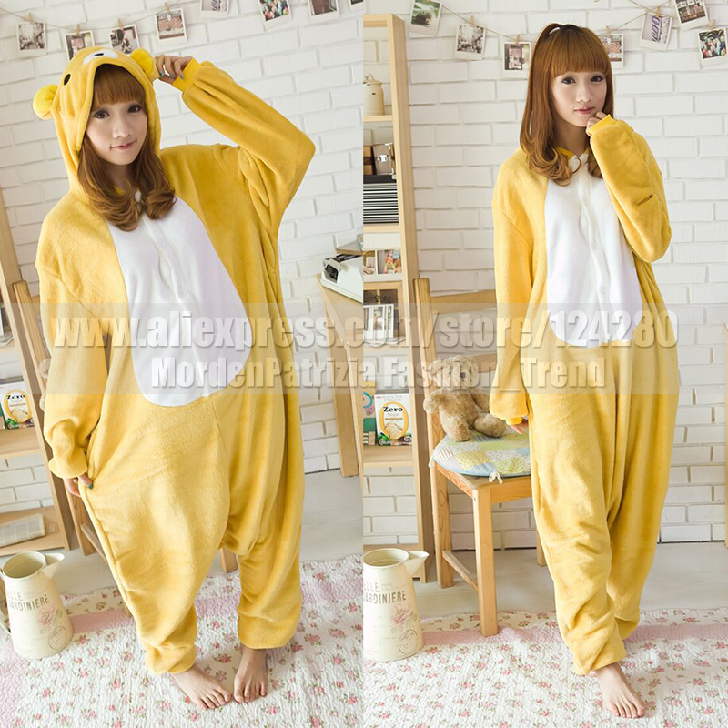 Women Men Plush Flannel Rilakkuma Onesie Costume Cartoon Cosplay Pajama sleepwear Pyjama Bear Cosplay Costume Winter Christmas(China (Mainland))