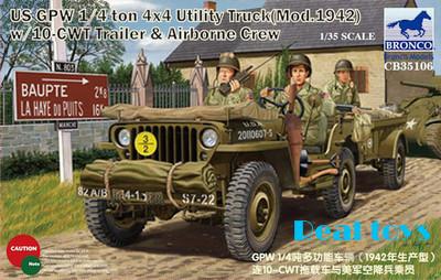 Bronco model CB35106 1/35 US GPW 1/4 ton 4X4 Utility Truck (Mod.1942) w/Crew plastic model kit(China (Mainland))