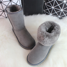 Luxury Classic Sheepskin Snow Boots Australia Winter Sheep Fur Wool Snow Boots Classic Thick Middle Button Women Leather Shoes(China (Mainland))