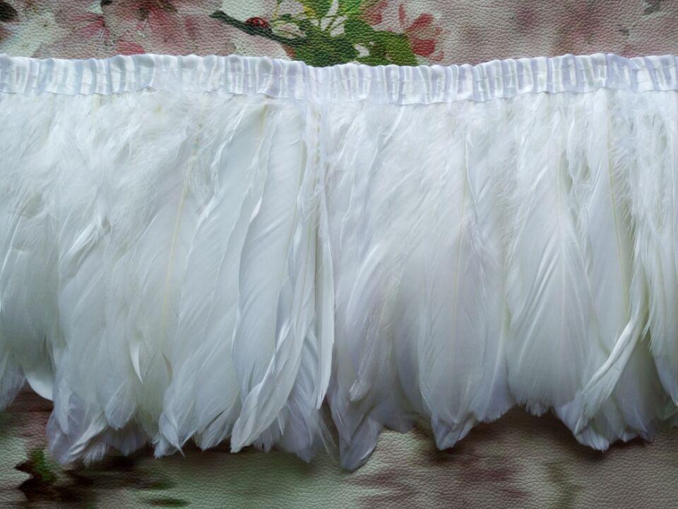 Оптовая продажа идеальный 2 ярды высокое качество натуральный белый перьев фазана лента 6 - 7 дюймов / 15 - 18 см декоративные поделки