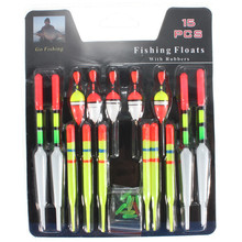 High Quality Hot Sale 15pcs/Set Assorted Sizes Lot Fishing Lure Floats Bobbers Slip Drift Tube Indicator