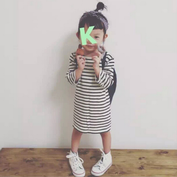 2016 spring autumn fashion baby girls dress full-sleeve white and black striped leisure clothes kids cute korean style clothing(China (Mainland))