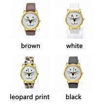 2016 Fashion GENEVA Dial Cat Watches Women Dress Watch charms Lady Casual Quartz Watches 4 Colors