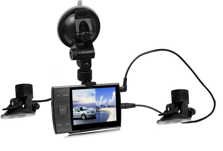 2014 new product First dual separate lens car dvr with 3.5 inch LCD,Metal design high quality car black box with dual channels()