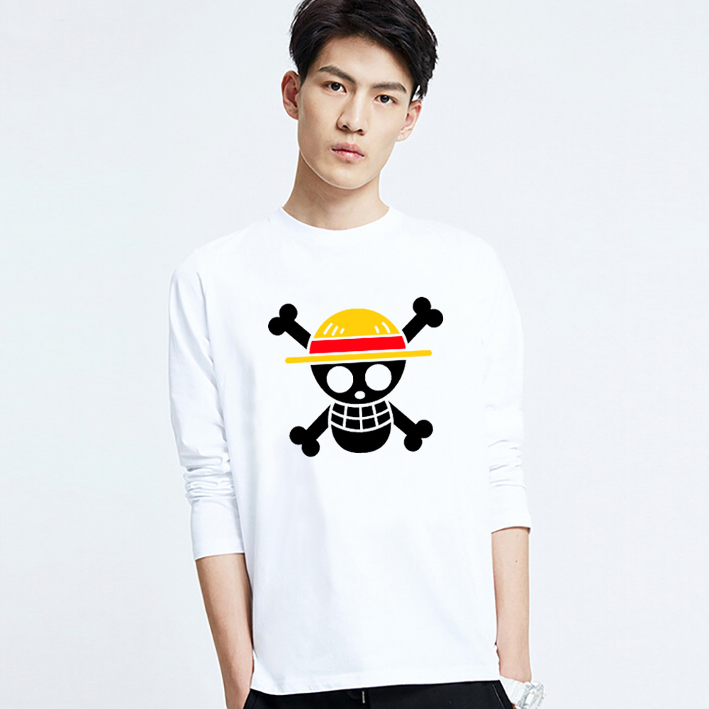 New design One Piece T Shirt skeleton Luffy Straw Hat Anime T Shirts Cotton O-neck long sleeve T-shirt Men T-shirt,tx1646(China (Mainland))