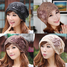 2016 HOT Fashion Ladies Accessory Winter Warm Floral Turban Soft Knit Headband Beanie Crochet Headwrap Women Hat Cap(China (Mainland))