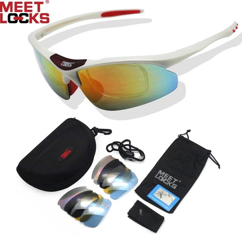 MEETLOCKS Bike Sunglasses,TR90 Frame,Polarized Lens, with 5 Interchangeable Lenses, For Driving,Cycling,Fishing & Outdoor Sports(China (Mainland))