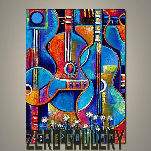 Pas cher mur fleurs guitare instrument de musique peinture l 39 huile de style africain c l bre for Peinture chambre style africain