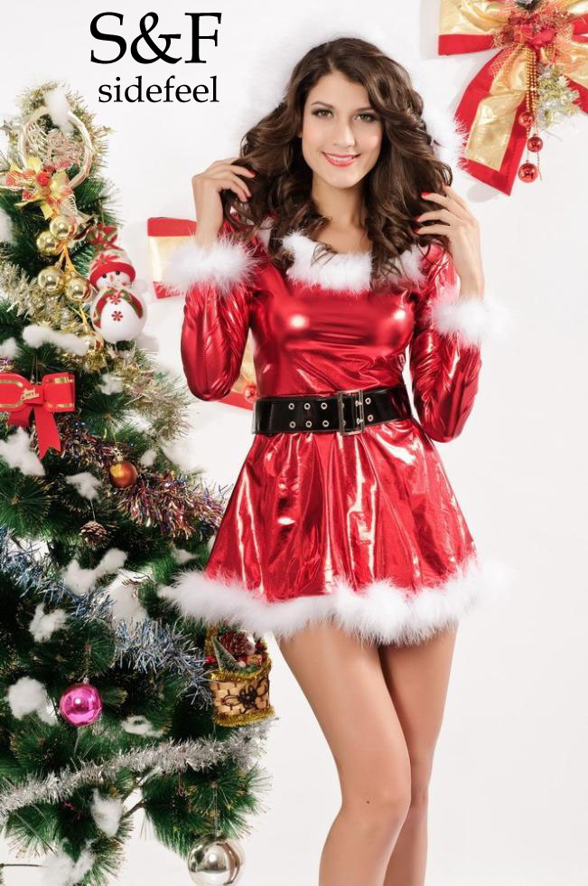 Women's Sexy Christmas Fancy Dress Costumes Punky Santa Hoody Dress With Belt LC7205 Cheap Price Drop Shipping Free Shipping(China (Mainland))