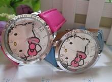 2014 NEW HOT Sale LOW Price Fashion Girls Cute Cartoon Watch Hello Kitty Watches Woman Children Kids Quartz Watch Mix Color 1pc