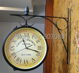 Cast Iron Indoor/Outdoor Wall Clock, Wall Decor, Home decor Clock, Wall Mounted Hanging Garden Metal iron craft, Free shipping