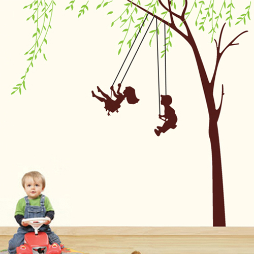 1 set 65*67 Inch Removable PVC Decals Childhood Happy Time Play On a Swing Wall Stickers For Kids Bedroom Decorative Decals(China (Mainland))