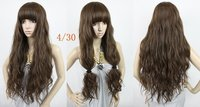 light brown #4t30,26inch 200g Silky Curly indian remy Blended hair wigs/fashion wigs, free shipping