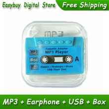 10pcs/lot New Style High Quality Mini Tape Shaped Card Reader MP3 Music Player Gift MP3 Players With Earphone&Mini USB&Box
