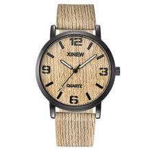 Reloj de hombre XINEW textura de madera imitación de madera Retro de cuero de cuarzo reloj masculino(China)