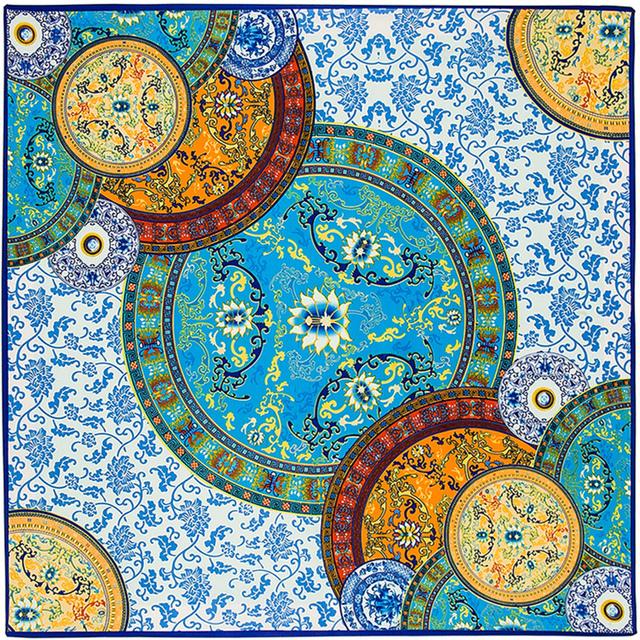 100 см * 100 см саржевые шелковые китайский синий и белый шарфы итальянский дворец ретро большой тяжелый саржевого шарф шаль косынка B135