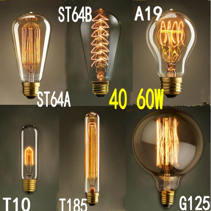 25W 60W 40W Vintage Antique Retro Style Lighting Tungsten Filament Edison Lamp Light Bulb E27 110V 220V A19 G125 ST64 T185 DIY(China (Mainland))