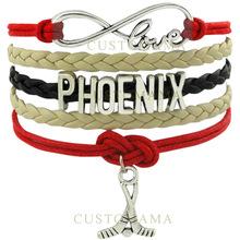 CUSTOMAMA Infinity Love Arizona Phoenix Ice Hockey Bracelet Coyotes Brick Red Desert Sand Black White Wax Leather Bracelet (China (Mainland))