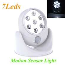 Wall Lamps 360 Degree 7 LEDS Porch Lights Rotation Light 6V White Cordless Motion Activated Sensor Light(China (Mainland))