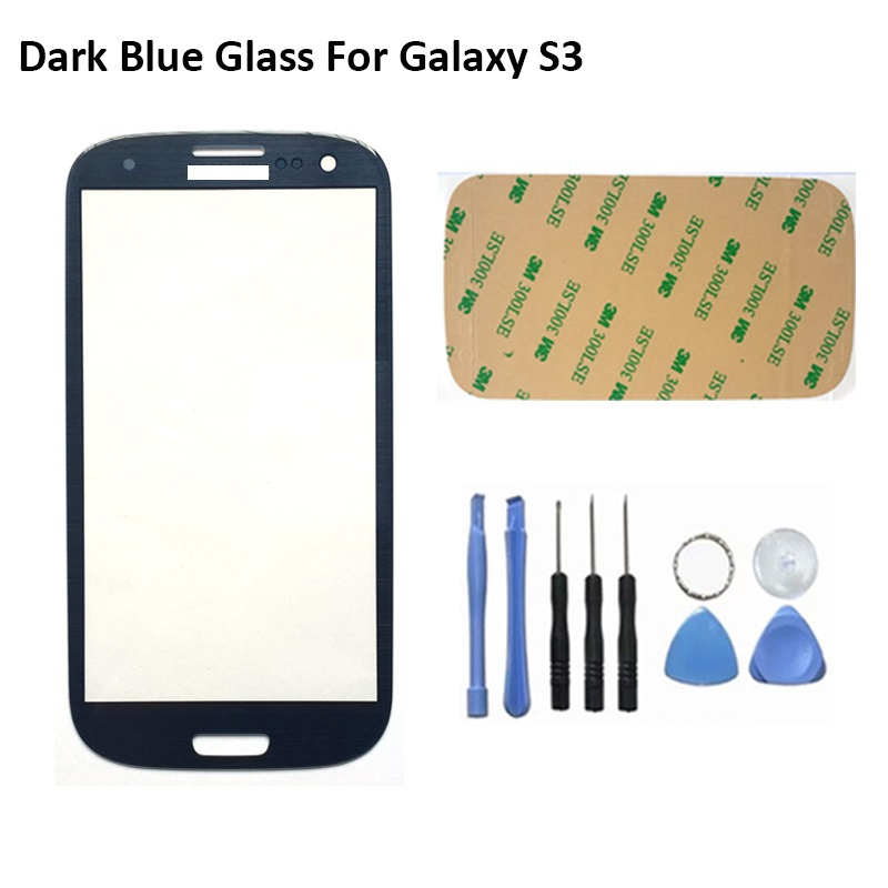Metallic blue New Front Outer Replacement Lens Glass Screen For Samsung Galaxy S3 SIII I9300 i747 L710 Free Shipping(China (Mainland))