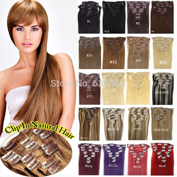человеческие волосы  парик накладки для волос Женщины клип в наращивание волос 100% человек реального натуральных волос прямой , 20 дюймов / 51 см 7 шт. 28 цвета нет смешивается бесплатная доставка